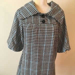 Aryeh M Size Blue/Black/White Hounds tooth Dress